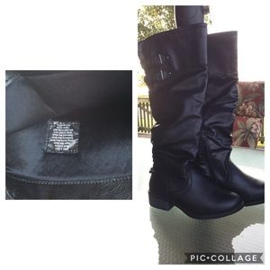 Apt. 9 Tall Black Partial Zip-Up Boots Size 6